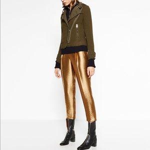 Zara Gold Metallic Trousers